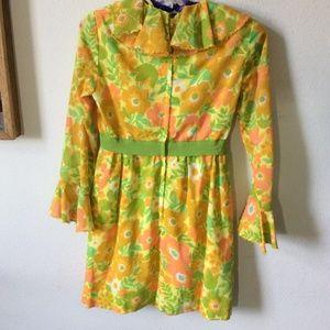 Vintage Dresses - Vintage Neon Mod Hippie Flower Mini Dress Belle